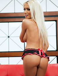 Blonde babe diana doll takes off her sexy lingerie.