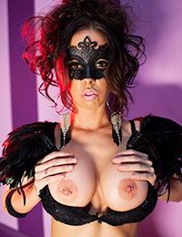 Brandy aniston seduces in her mask and wings but lets not forget those amazing boobs and perfect pussy.