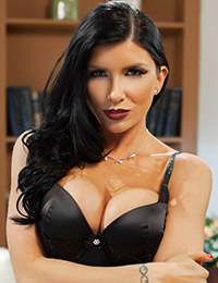 Romi rain removes her sexy black lingerie to expose her magnificent breasts.