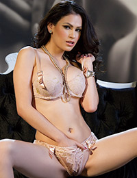 So sexy vanessa veracruz gets naked on the black couch.